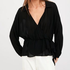 Zara wrap blouse top